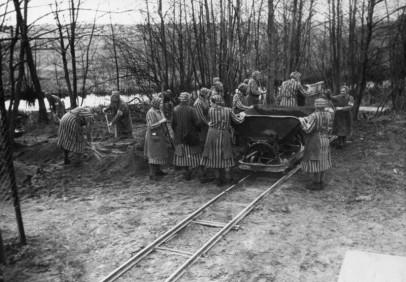 Zeuginnen Jehovas arbeiteten 1939/40 in den Anlagen der SS Siedlung und beim Straßenbau, hier beim Beladen von Loren. (Foto: SS 1940, MGR/SBG, Foto-Nr. 1699)