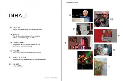 Inhaltsverzeichnis des Jahresberichts 2015/16