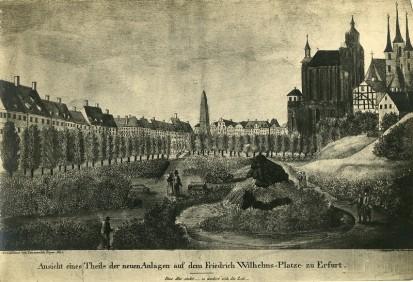 Luisenthal mit Dom und Severi im Jahr 1842 (Quelle:: Stadtarchiv Erfurt)